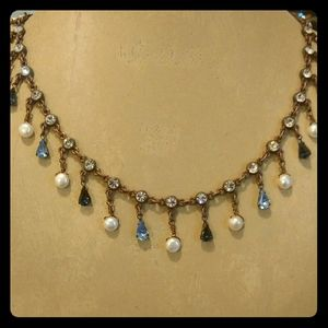 Vintage Antiqued copper crystal and pearl necklace